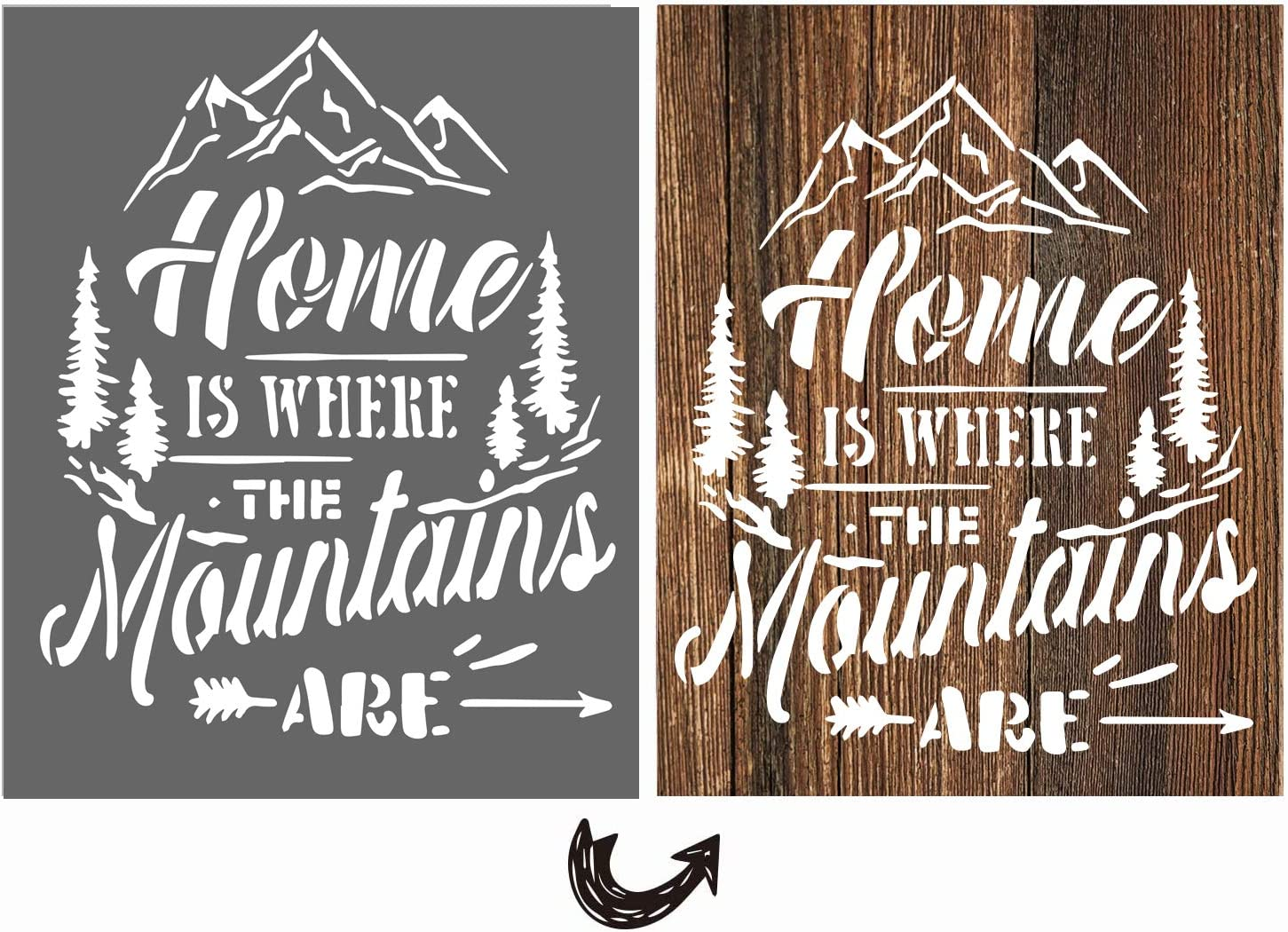 vizuzi Home Is Where The Mountains Are Sign Stencils - Home Decor Rustic Farmhouse Inspirational Template for Painting Spraying Wood Floors Furniture Paper Window Glass Door Wall Sign Crafts