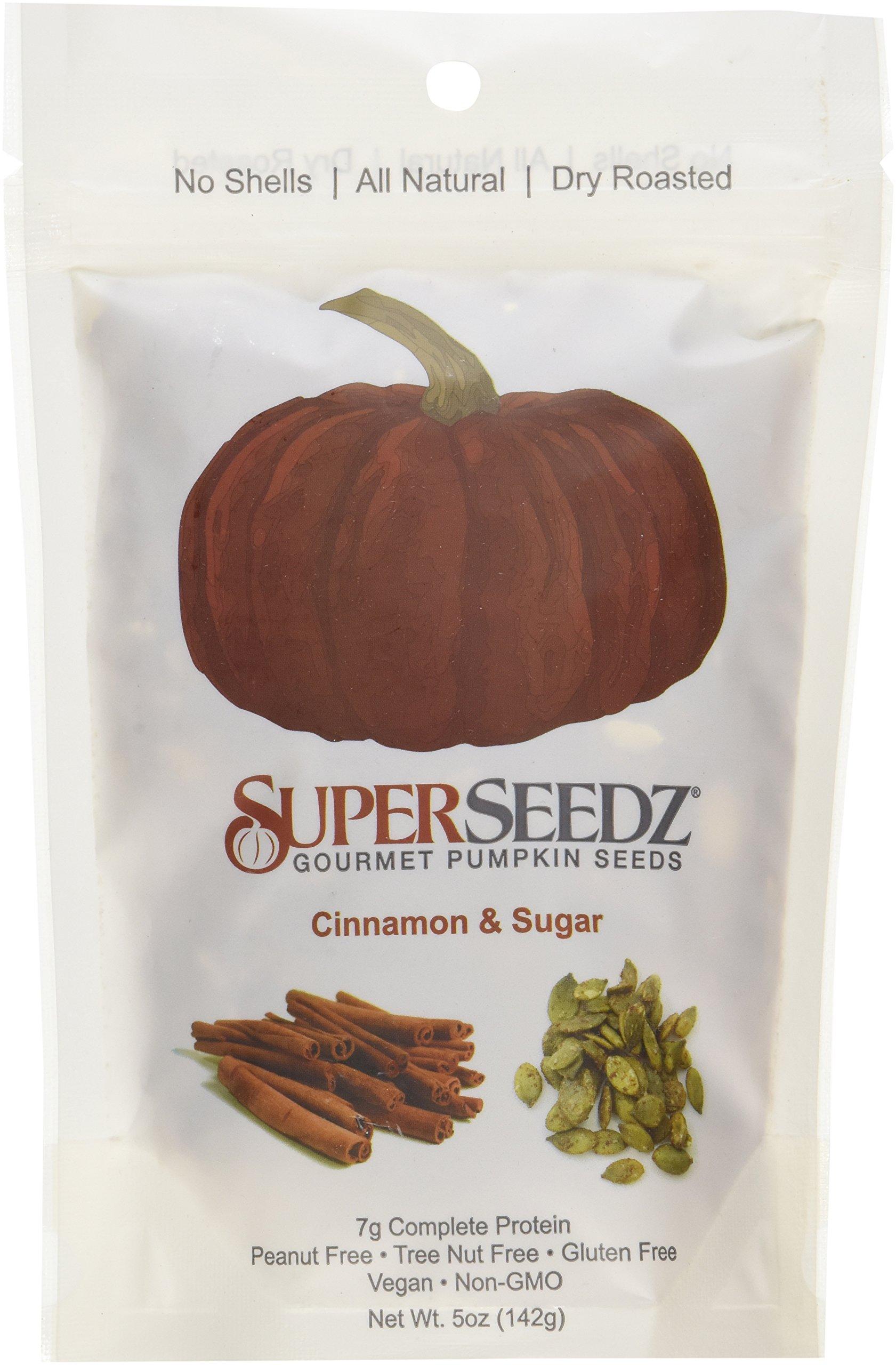 SuperSeedz Gourmet Roasted Pumpkin Seeds - Cinnamon & Sugar 5 Oz. Bag(Pack of 6)