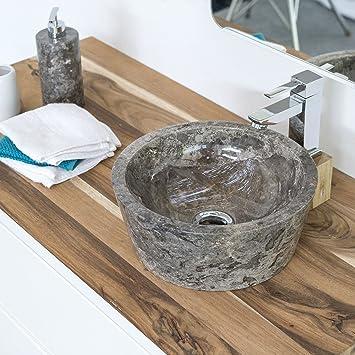 Wohnfreuden Marmor Waschbecken 30 Cm Grau Rund Poliert