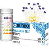 RUNBO Aquarium 6 in 1 Test Strips for Fresh/Salt Water, 100 Counts Easy and Accurate Test Nitrate, Nitrite, General…