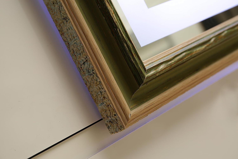 Design LED-Beleuchtung Wandspiegel GS099N GS099N GS099N Lichtspiegel Badspiegel Flurspiegel Garderobenspiegel mit Rahmen Tageslichtweiß IP44 (80 x 60 cm, K4) d6a333