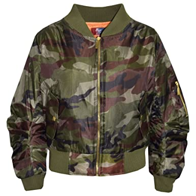 cbbe45129 Amazon.com: Kids Jacket Girls Boys Camouflage Bomber Padded Zip Up Biker  Jacktes MA 1 Coat: Clothing