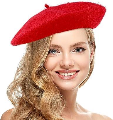 Skeleteen - Gorro Tipo Boina para Mujer, Estilo francés, Color Rojo: Amazon.es: Ropa y accesorios