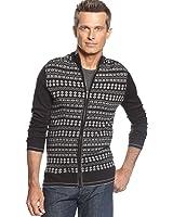 Geoffrey Beene Men's Zipfront Fairisle Cardigan Sweater Black Gray