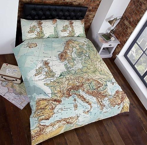 Vintage maps panel duvet cover quilt bedding set double world map urban unique european map photographic print duvet cover bed and pillowcase set muti single gumiabroncs Choice Image