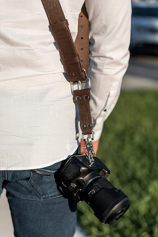 Camera Strap Accessories for Two-Cameras Multi Camera Gear for DSLR//SLR/Black Dual Shoulder Leather Harness