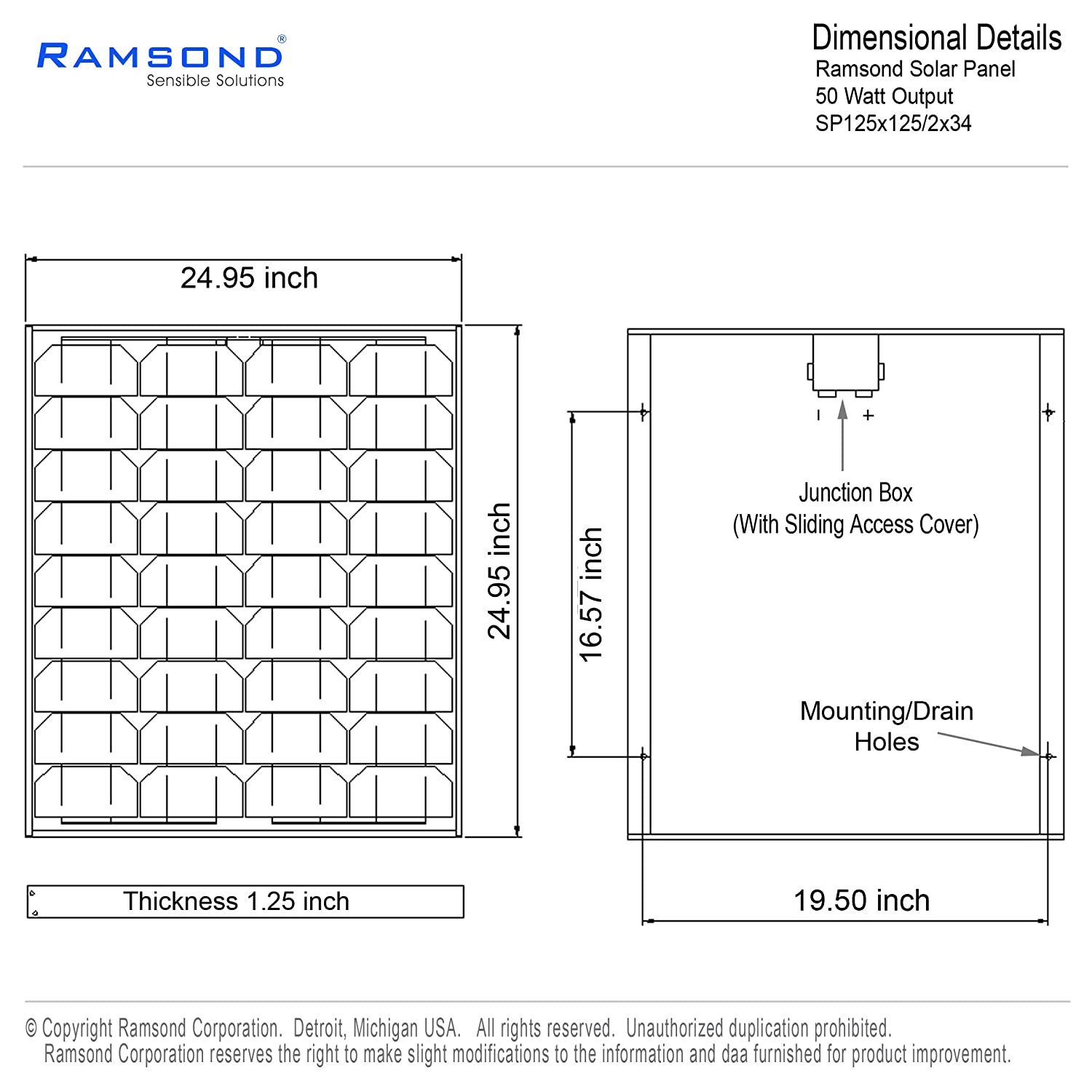 Ramsond 50 Watt Solar Panel 50w W Monocrystalline Visit Page Of Charger Circuit Photovoltaic Pv Module 12v Battery Charging Rv 25 Year Garden Outdoor