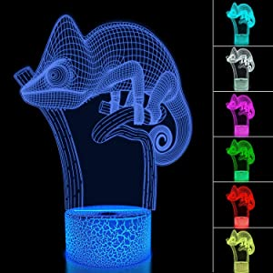 Chameleon 3D Night Light Lizard Projection LED Lamp Baby Nursery Nightlight for Kids' Room Home Decor Xmas Birthday Gifts with Remote Control 16 Color Changing