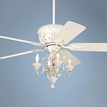 52 Casa Deville White Ceiling Fan with Pull Chain LED Kit – Casa Vieja