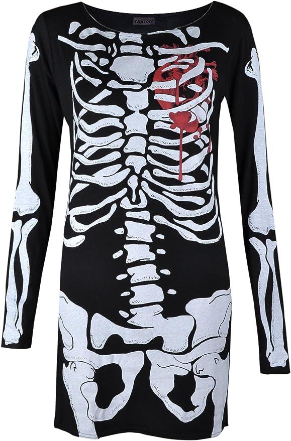 Femme Femmes Baggy Tunique Halloween squelette OS Coeur T Shirt Mini robe Top