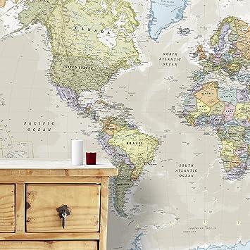 Carte Géante du Monde Pour Mur   Classique   232 (largeur) x 158