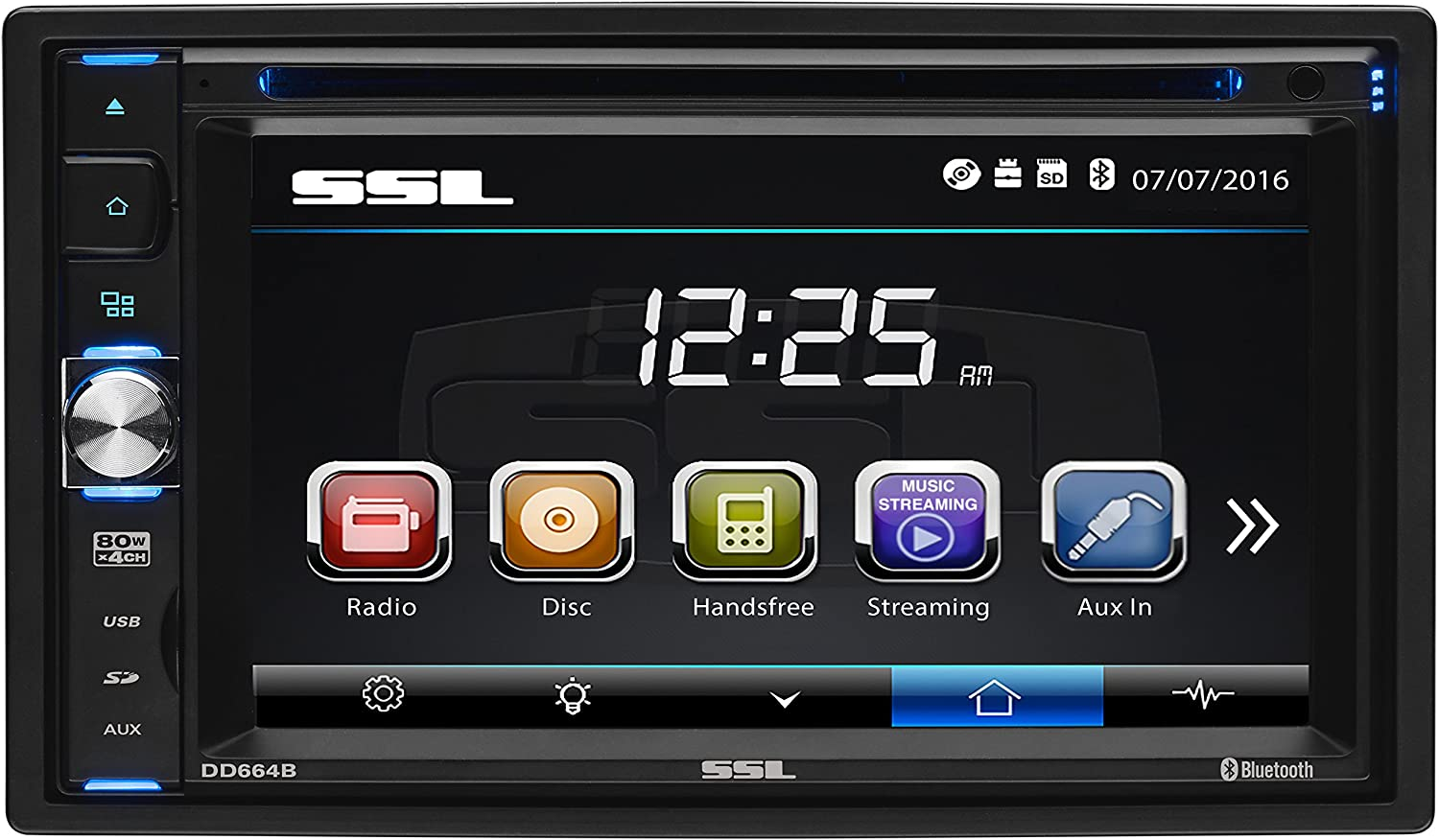 Sound Storm Labs DD664B Double Din Touchscreen Bluetooth DVD CD MP3 USB SD AMFM Car Stereo 6.2 Inch Digital LCD Monitor Wireless Remote