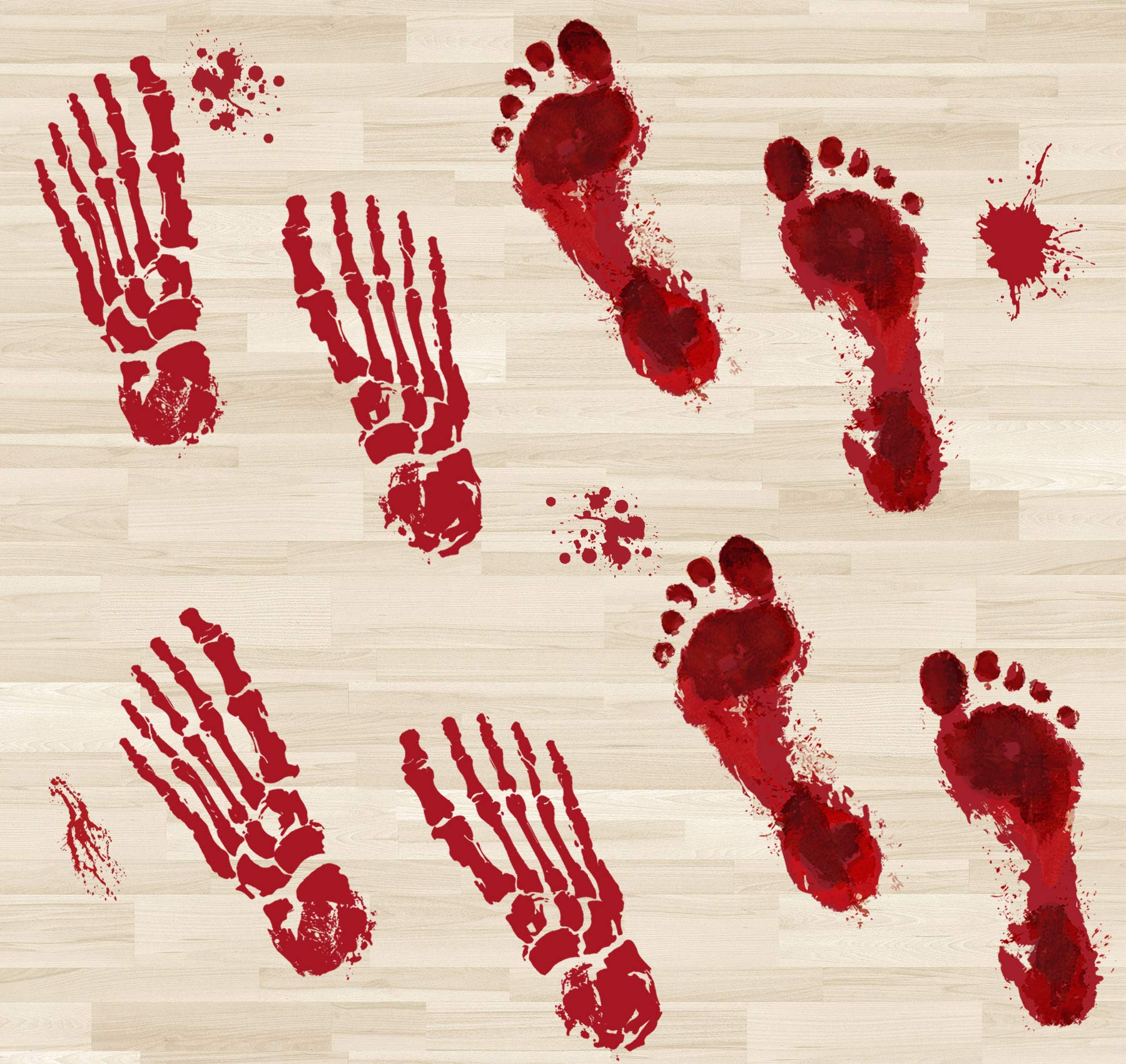 Your Little Lovely Bloody Footprints Floor Decals Clings - Halloween Zombie Vampire Party Stickers Decorations Supplies 84Ct