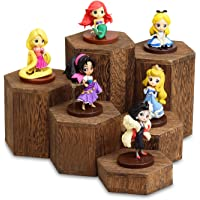 Mooca Wooden 6 Pcs Hexagon Risers for Display Jewelry and Accessories Display Stand, Wooden Display Risers, Wood Jewelry Risers Wood Figurine Display Risers, Brown