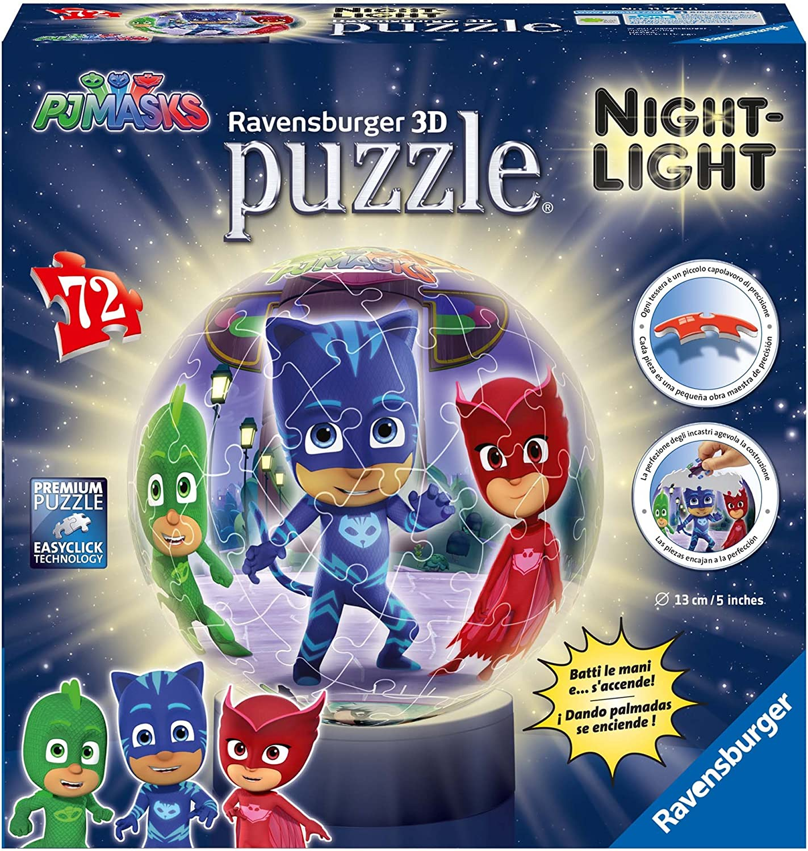 Ravensburger Puzzle Ball 3D Lámpara, PJ Masks (11771) , Modelos/colores Surtidos, 1 Unidad