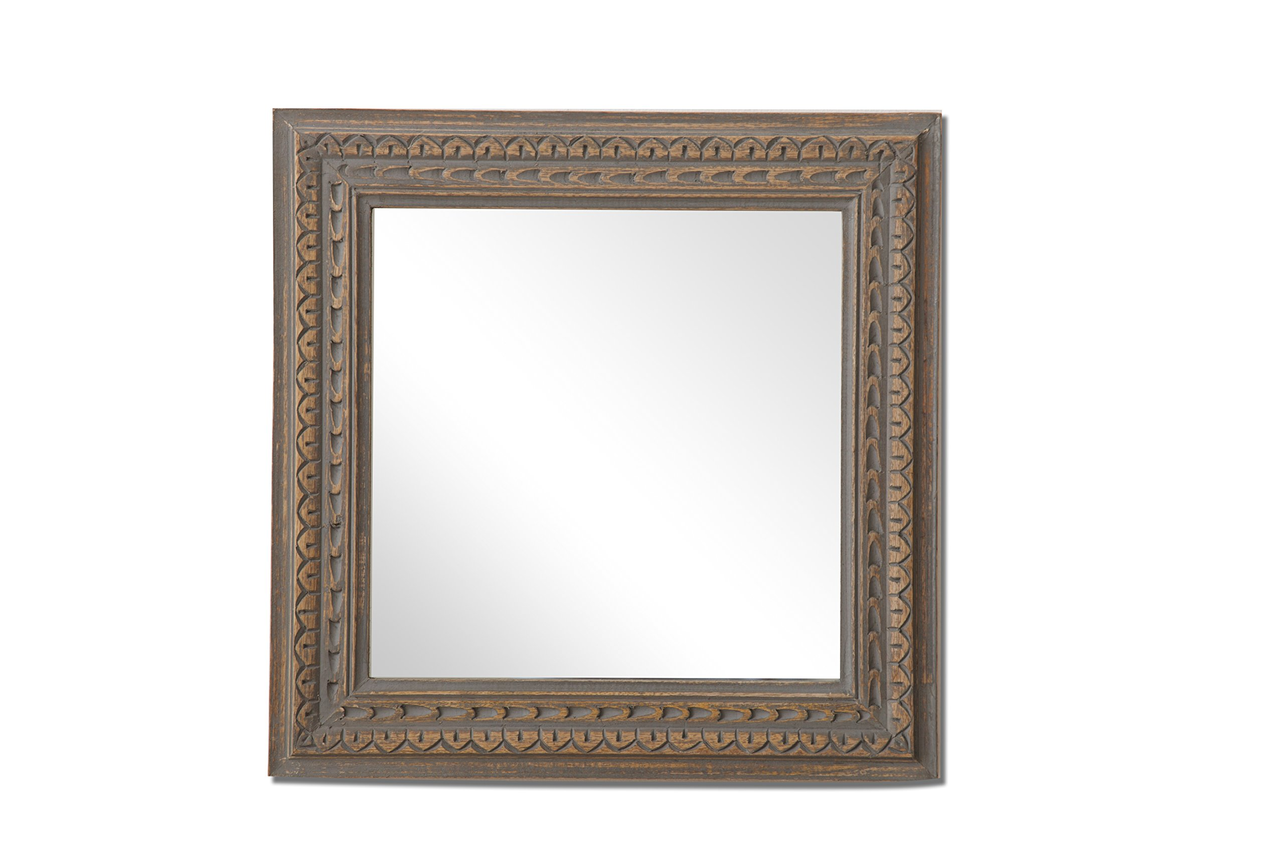 The Urban Port Square Mango Wood Mirror with Aesthetic Carvings, Brown