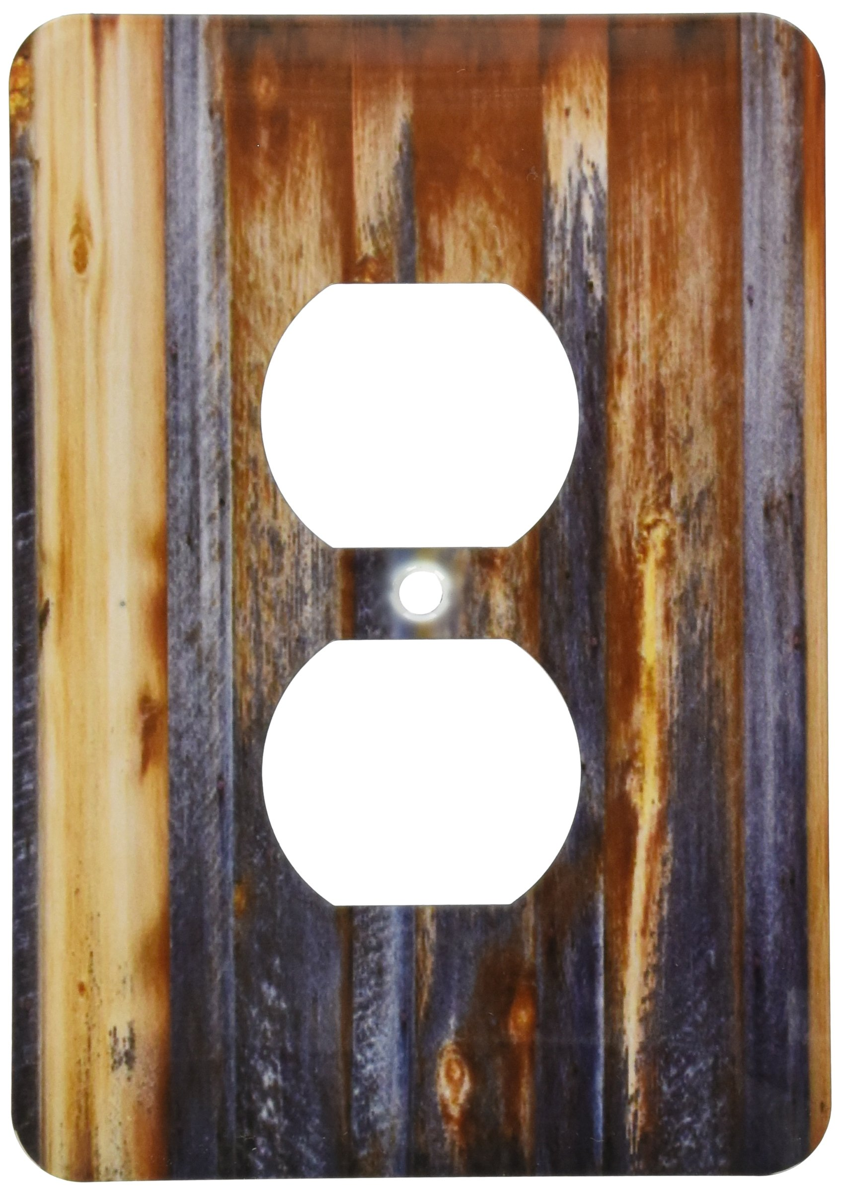 3dRose LLC lsp_124675_6 Brown Barn Wood Look 2 Plug Outlet Cover