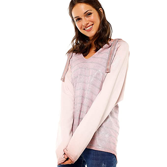 VENCA Sudadera Escote v y Capucha Regulable por Cintas Mujer by Vencastyle - 027539, Azul, Unica: Amazon.es: Ropa y accesorios