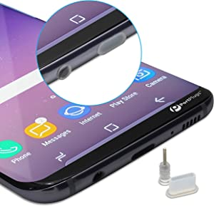 PortPlugs - USB C Dust Plugs (5 Sets) - Compatible Samsung s10, s9, s8, Note, Pixel, One Plus, Any Type C Port - Includes Headphone Jack Plugs, SIM Tool (Clear)