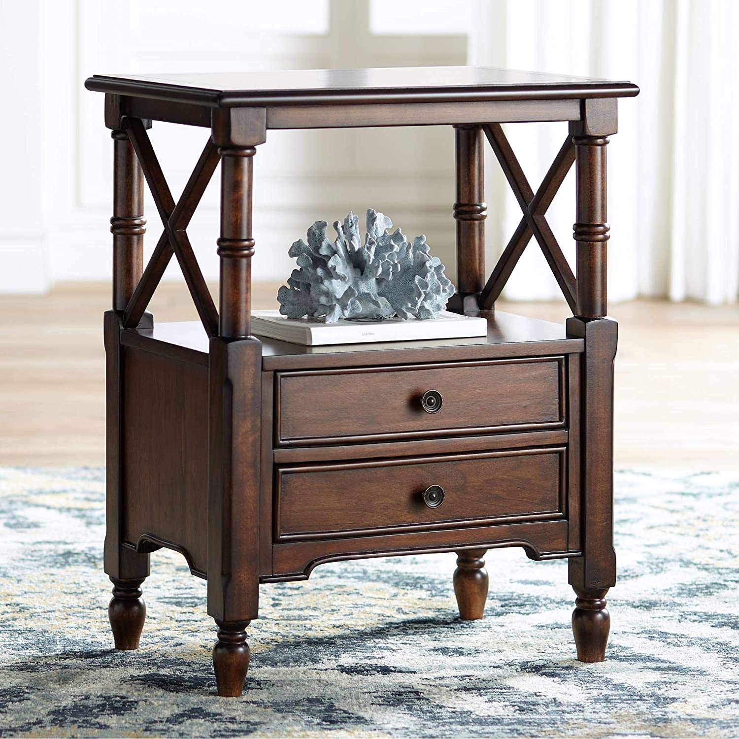 """Tamryn 24"""" Wide Brown Cherry 2-Drawer Accent Table"""