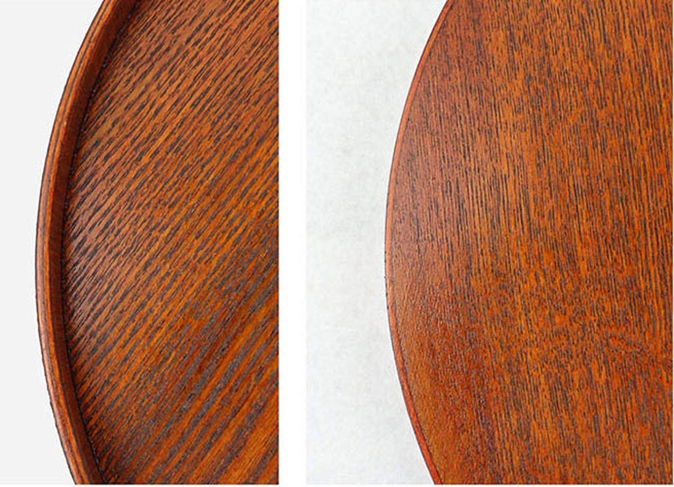 丸トレー 接客トレイ ナチュラルスタックトレー 漆塗り 茶色 丸盆 EASEASE 業務用 お盆 トレー 直径27cm (茶色 27CM) 茶道具 定食盆 木製 カフェトレー