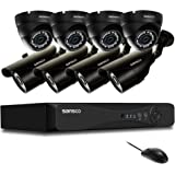 SANSCO [TURE 1080p] 8CH CCTV Security System with Smart DVR and (8) Outdoor Weather-Proof Bullet & Dome Cameras (1920x1080 FHD 2MP Resolution, Rapid USB Backup, Vandal Proof, No Hard Drive)