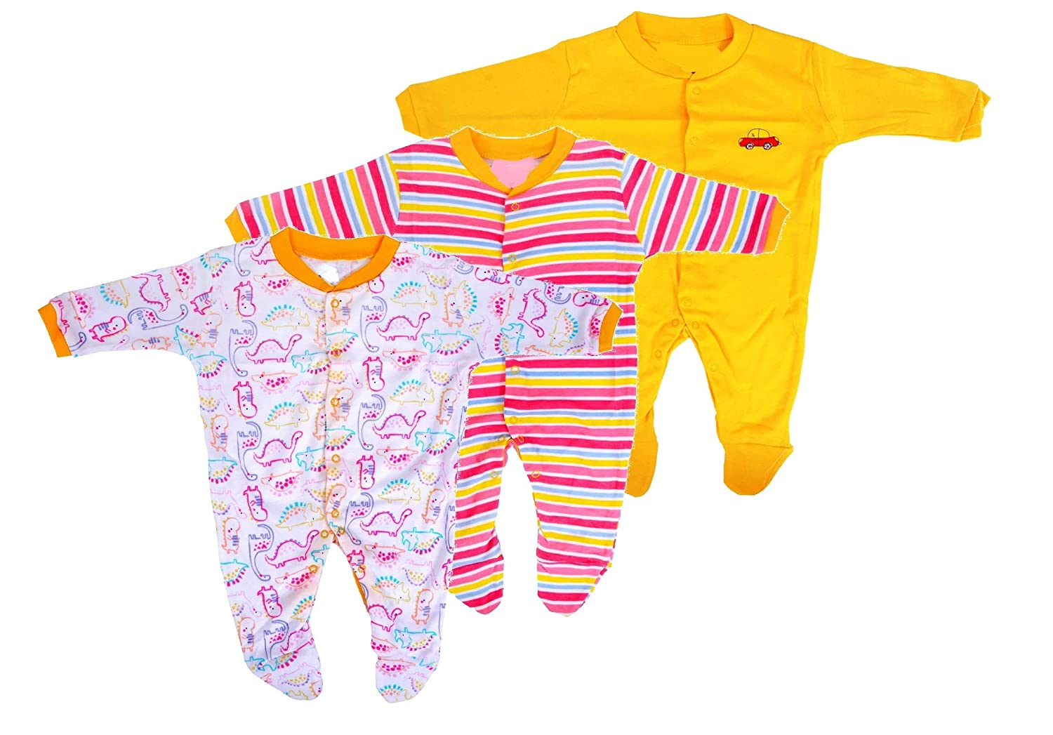 eaebcd183 Baby Grow New Born Baby Multi-Color Long Sleeve Cotton Sleep Suit Romper  for Boys and Girls Set of 3