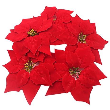 m2cbridge 50pcs artificial christmas flowers red poinsettia christmas tree ornaments dia 8 inches - Red Artificial Christmas Tree