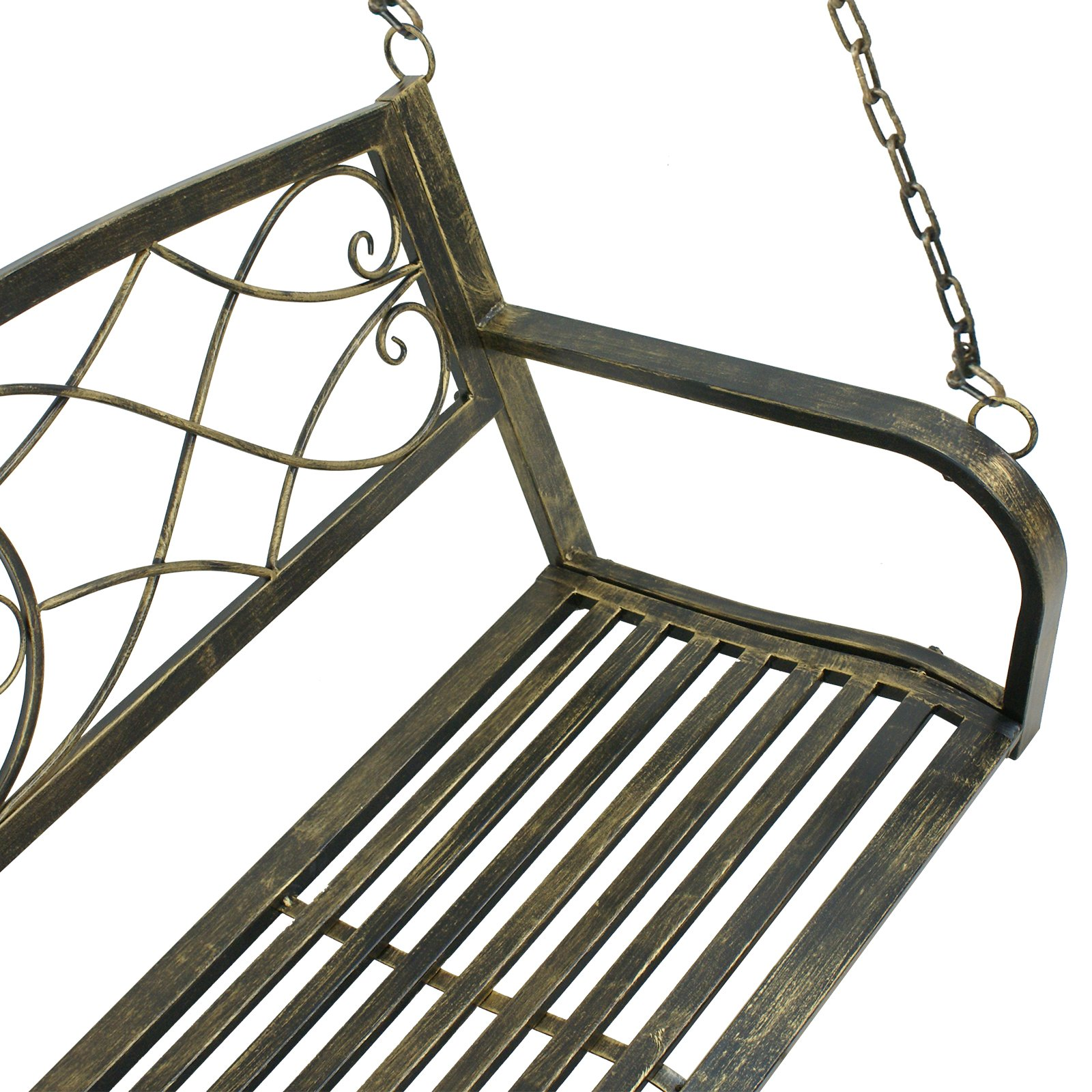 Smartxchoices Treated Metal Hanging Patio Swing Bench Porch Furniture Fleur-De-Lis Design 2 Person Heavy Duty Swing Chair 50.5''L by Smartxchoices (Image #5)