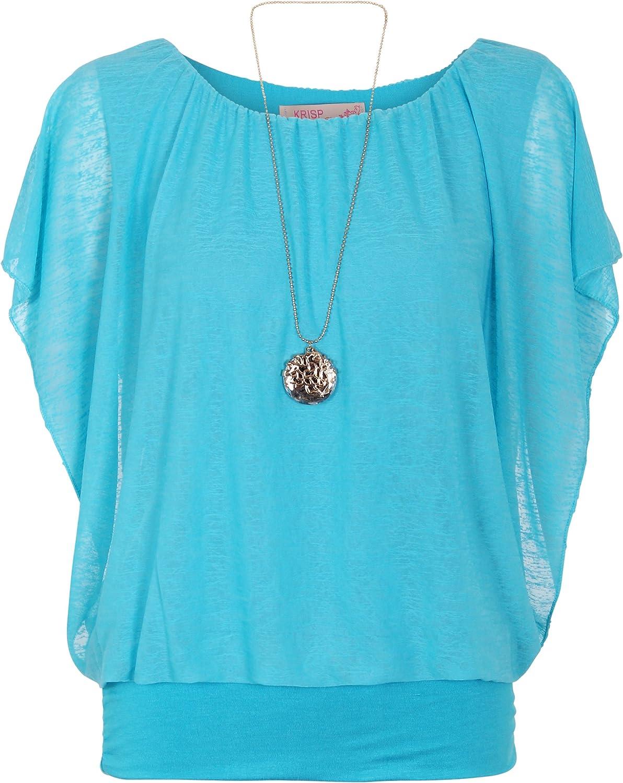 KRISP/® Donne Oversize 2 in 1 Chiffon Blusa Kimono Manica Piena Top Collana Tunica Casual