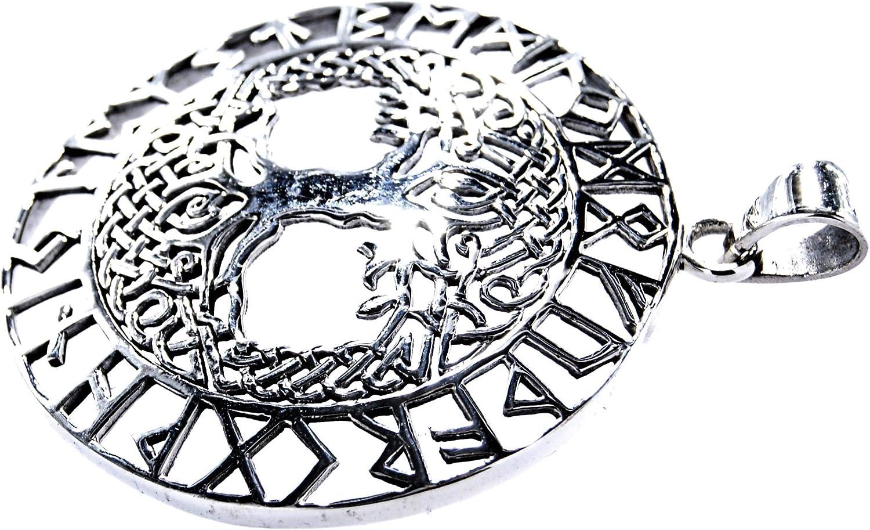 Kiss of Leather Gro/ßer Lebensbaum Anh/änger mit Runen aus 925 Sterling Silber mit Baumwollband