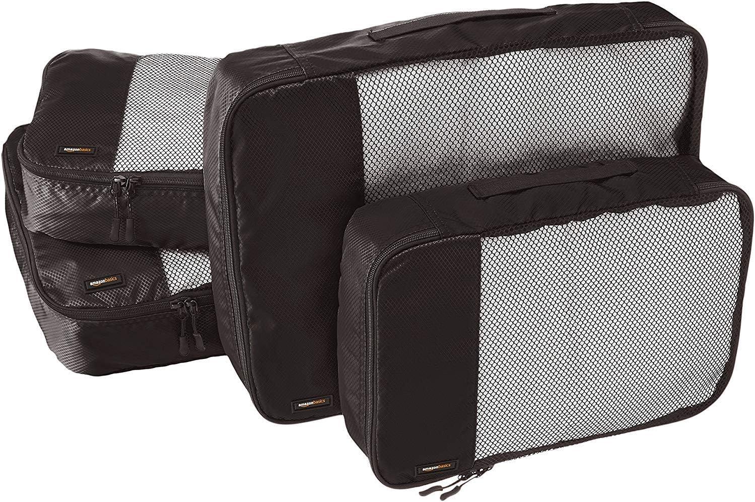 AmazonBasics - Bolsas de equipaje (2 medianas, 2 grandes; 4 unidades), Negro