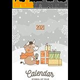 CALENDAR 2021: Hand drawn cartoon style calendar 2021 with bull symbol of the year.