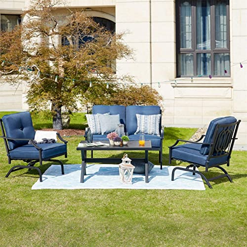 PatioFestival 4 Pieces Patio Conversation Set Metal All Weather Outdoor Furniture Set Loveseat Rocking Chairs Coffee Table Poolside Lawn