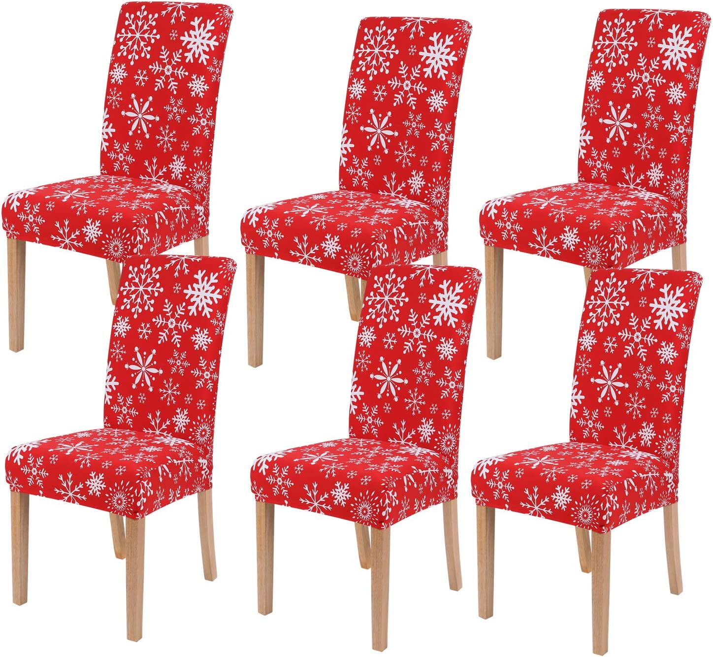 smiry 6 Pack Printed Dining Chair Covers, Stretch Spandex Removable Washable Dining Chair Protector Slipcovers for Home, Kitchen, Party, Restaurant (Red with White)