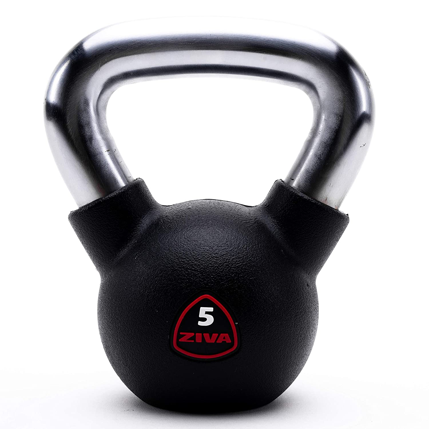 ZIVA Virgin Rubber Kettlebell Weights – Multiple Sizes, 5-50 Pounds – Free Weights for Core Training, Strength Training Workouts, Balance and Agility