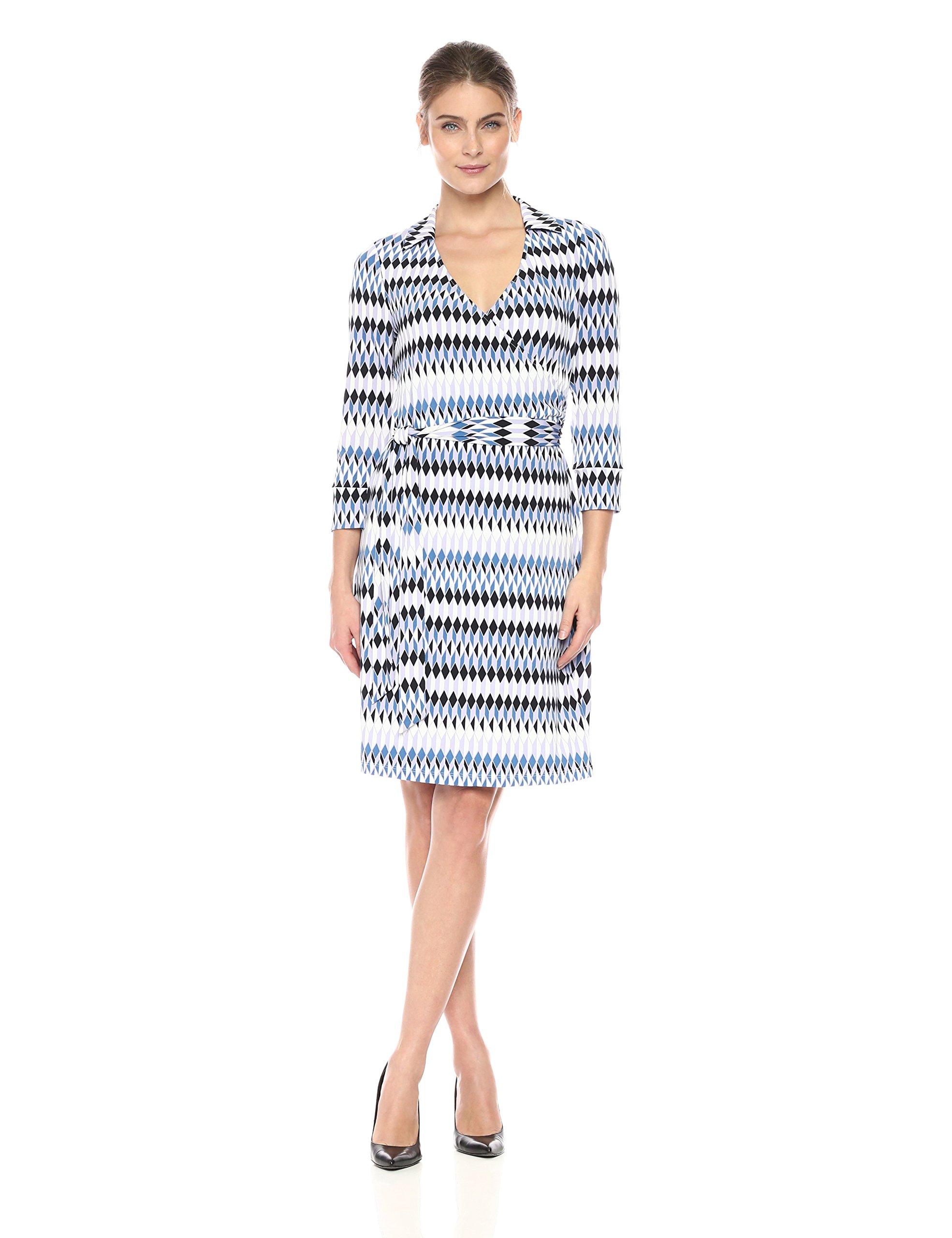Lark & Ro Women's Three Quarter Sleeve Patterned Wrap Dress, Geo, L