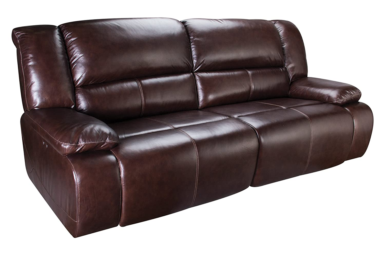 Amazon.com: Amarillo Power Reclining Leather Sofa: Kitchen ...