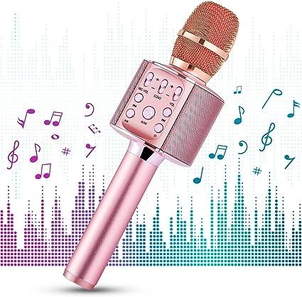 1 BY ONE Micrófono de karaoke inalámbrico,portátil 4 en 1 con ...
