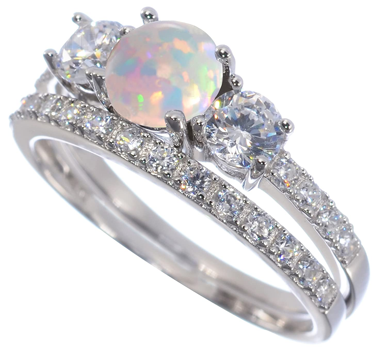 Round Triple Cut Simulated White Fire Opal CZ Ring Engagement Bridal Set 925 Sterling Silver