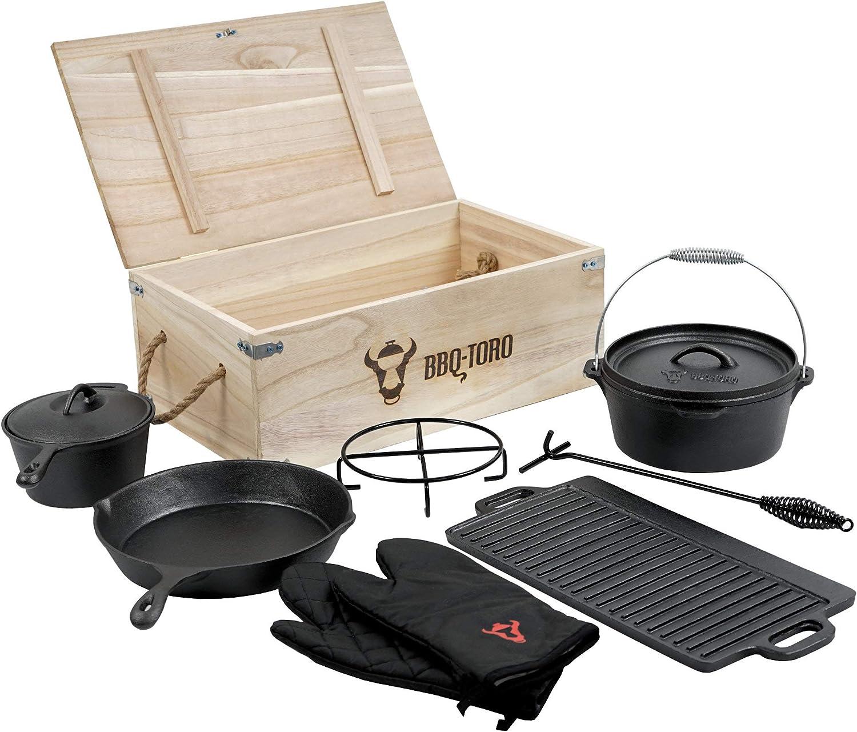BBQ-Toro Dutch Oven Set in Holzkistemit Stieltopf Grillplatte Grillhandschuhe