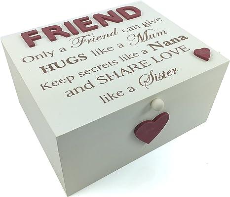 Estilo Vintage de regalo de amigo grande caja de recuerdos de madera, con sentimiento: Amazon.es: Bebé