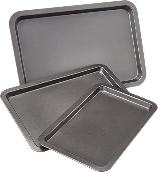 AmazonBasics - Juego de 3 bandejas de horno para repostería ...