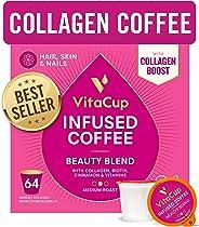 VitaCup Beauty Blend Coffee Pods 64ct | Collagen, Biotin & Cinnamon | Hair, Skin & Nail Health | Keto & Paleo Friendly | B V