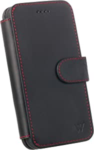 Wilken iPhone XR Leather Wallet with Detachable Phone Case | Wireless Charging Compatible | Top Grain Genuine Leather | (Black/Red, XR)