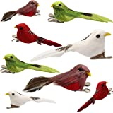 Athoinsu Set of 8 Artificial Polka Dot Feather Robin Bird Figures with Clips for Christmas Tree Craft Decoration, Colorful Handmade Ornament for Home, Yard, Garden or Lawn, Party Favors (Styel 1)