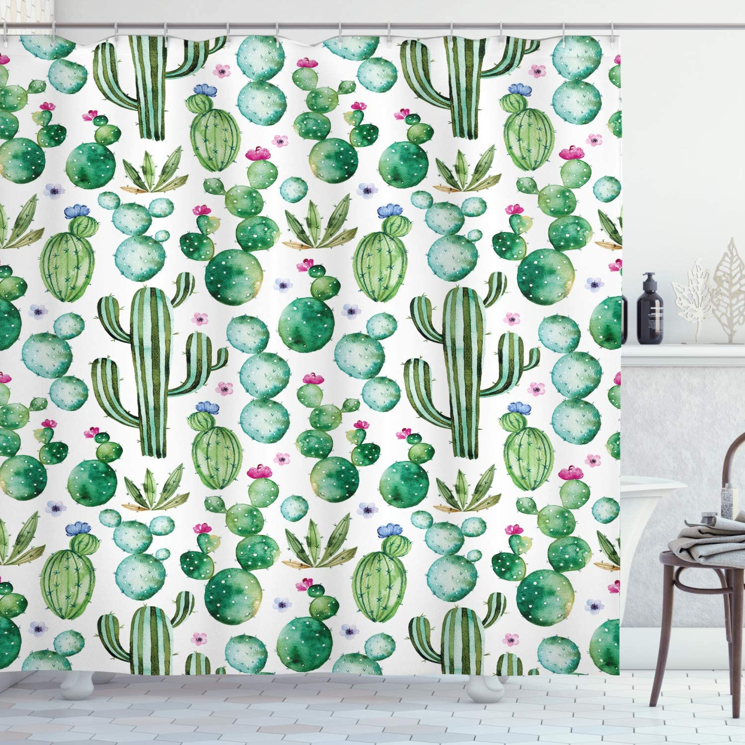 """Ambesonne Green Shower Curtain, Mexican Texas Cactus Plants Spikes Cartoon Like Print, Cloth Fabric Bathroom Decor Set with Hooks, 70"""" Long, Lime Green Pale Pink"""