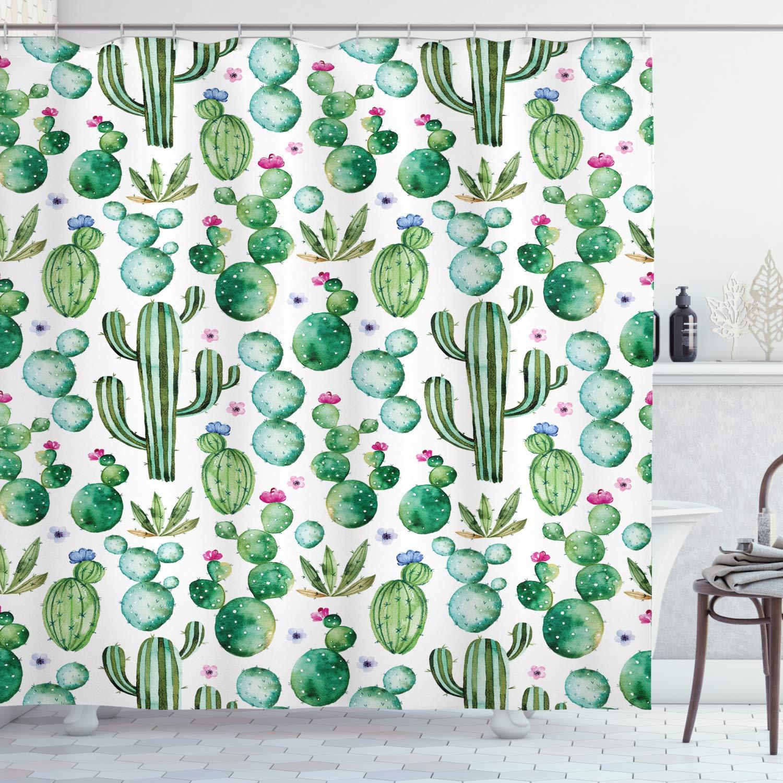 Cartoon Shower Curtain Mexican Cactus Plants Print for Bathroom
