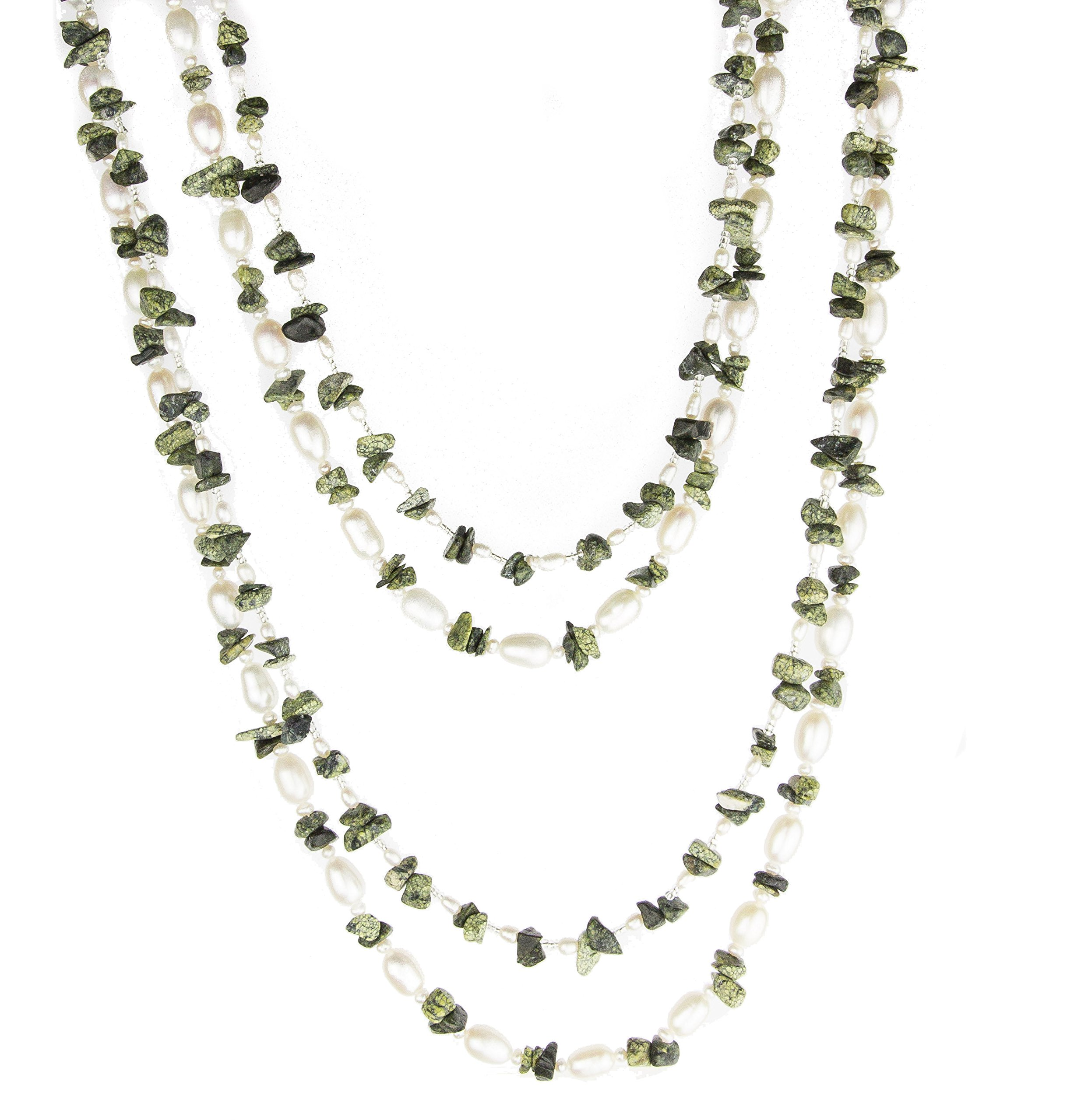 HinsonGayle 'Olive' 2-Strand Freshwater Cultured Pearl & Moss Green Jasper Necklace & Dangle Earrings-40 in length