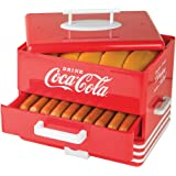 Nostalgia HDS248COKE Large Coca-Cola Diner-Style Steamer, 24 Hot Dogs and 12 Bun Capacity, Perfect For Breakfast Sausages, Br